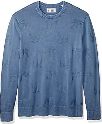 Original Penguin Mens Big Long Sleeve Patterened Sweater, Faded Denim Palm Tree, 4-XL Extra Large/Tall