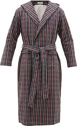 P. Le Moult Hooded Checked-cotton Robe - Mens - Burgundy Multi