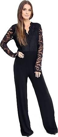Momo & Ayat Fashions Ladies Plus Size Lace V-Neck Plazzo Jumpsuit UK Size 16-24 (UK 24 (EUR 52), Black)