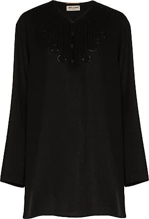 Saint Laurent appliqued silk-blend voile tunic - Black