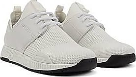 BOSS Unisex stretch-knit trainers with leather panels