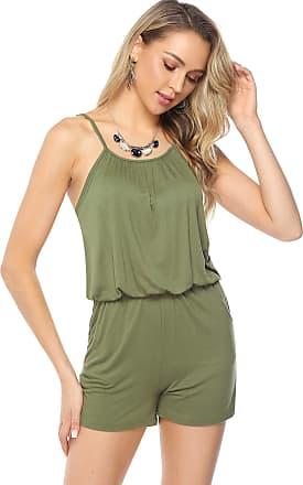 Abollria Playsuits for Women Summer Sleeveless Elastic Waist Boho Casual Romper Jumpsuit Green