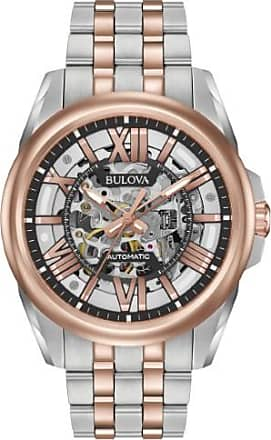 ba104b047 Bulova Automatic 98A166 Black/Two-Tone Analog Automatic Mens Watch