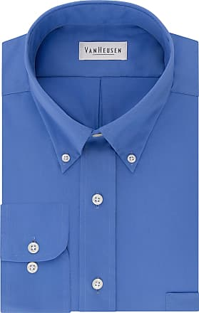 Van Heusen Mens Regular Fit Twill Solid Button Down Collar Dress Shirt Button Down Collar Long Sleeve Dress Shirt - Blue