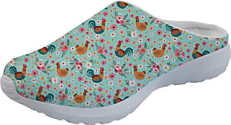 Coloranimal Lightweight Backless Slippers Chicken Flower Printed Garden Clogs Footwear US8