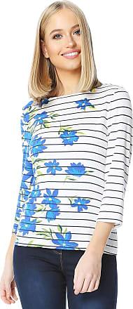 Roman Originals Women/'s Stripe Round Neck 3//4 Length Sleeve Jersey Top