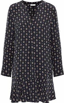 Joie Joie Woman Elroya Printed Washed-silk Mini Dress Black Size XXS