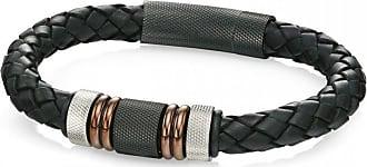 Acotis Limited Fred Bennett Stainless Steel Black Leather Woven Bracelet B4377