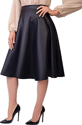 Krisp 2778-MAT-18: Faux Leather High Waisted Full Midi Skirt