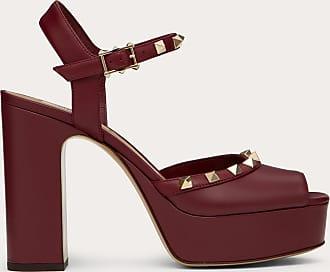 Valentino Garavani Valentino Garavani Rockstud Calfskin Platform Sandal 115 Mm Women Cherry 100% Pelle Di Vitello - Bos Taurus 37.5