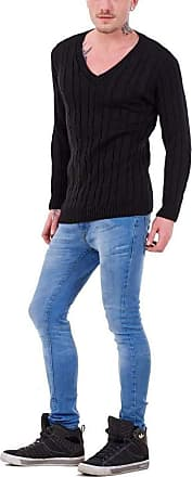21Fashion Mens Long Sleeve Chunky Cable Knitted Jumper Adults Fancy V Neck Casual Sweater Top Black Medium