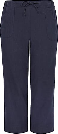 Yours Clothing Clothing Womens Linen Mix Wide Leg Trousers Size 26-28 Navy