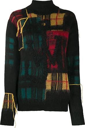 J.W.Anderson Suéter de tricô com franjas xadrez - Preto