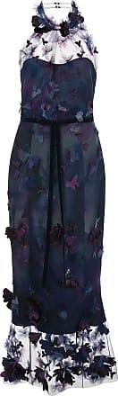 Marchesa leaf appliqués long dress - Blue