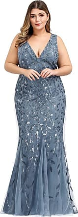 Ever-pretty Womens Sleeveless V Neck Floor Length Elegant Mermaid Plus Size Wedding Guest Dresses Denim Blue 22UK