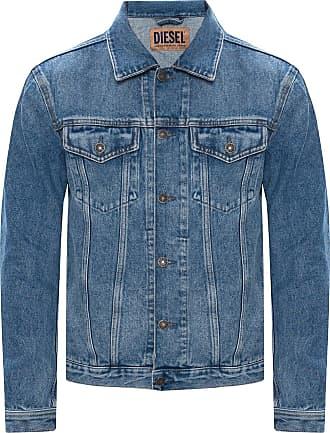 Diesel Denim Jacket With Logo Mens Blue