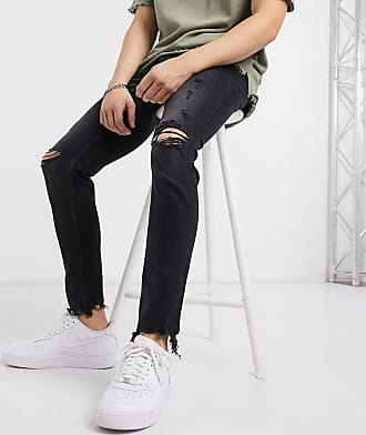 Bershka skinny jeans in washed black with rips