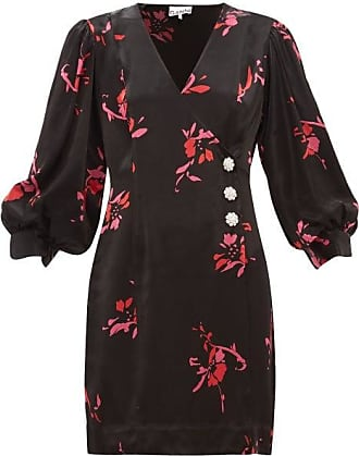Ganni Crystal-embellished Floral-print Satin Wrap Dress - Womens - Black Multi