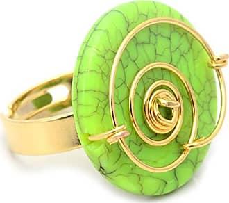 Tinna Jewelry Anel Dourado Espiral Com Medalha Em Resina (Verde)