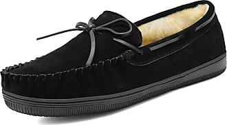 Dream Pairs Mens Fur-Loafer-01 Black Suede Slippers Loafers Shoes Size 12 US/ 11 UK