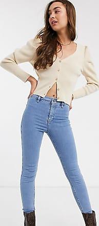 Topshop Petite joni jeans in bleach wash-Blue