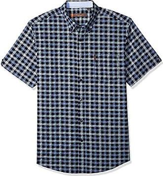 906f8c1e73f418 Ben Sherman Mens SS SKTCH CHCK PRNT Shirt, Navy Blazer, XXL