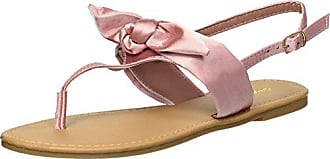 Qupid Womens Thong Sandal with Bow Flat, Blush, 6.5 M US