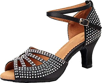 Find Nice Womens Rhinestone Beginner Practice Latin Dance Shoe Social Ballroom Prom 7137A Black 6.5 UK