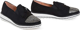 Shelikes Womens Ladies Flat Tassle Loafers Diamante Casual Party Slip On Shoes Pumps Black Size 3-21 [Black, 5 UK]