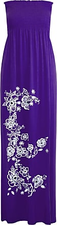 Be Jealous Women Floral Bandeau Boobtube Sheering Maxi Dress Purple