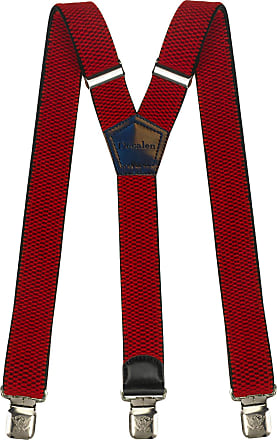 Decalen Mens braces wide adjustable and elastic suspenders Y shape with a very strong clips - Heavy duty (Red 2)