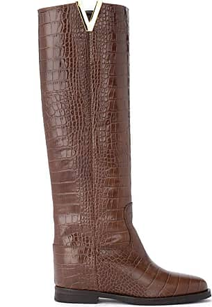 Via Roma 15 Boot Made of Brown Crocodile Print Leather