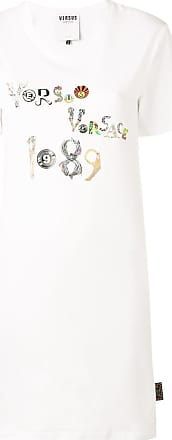 Versus logo print T-shirt dress - White