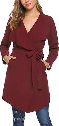 iClosam Womens Trench Coat Belted Thin Jacket Trench Pea Coat Overcoat Outwear Ladies Waterfall Long Sleeves Cardigan Red