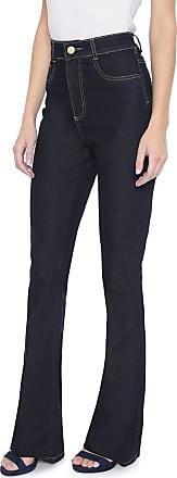 Sawary Calça Jeans Sawary Flare Pespontos Azul-marinho