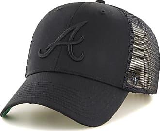 47 Brand Atlanta Braves Branson MVP Trucker Cap - Black On Black One Size