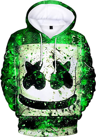 OLIPHEE Mens Fashion 3D Prints Hoodies DJ Inspired Graphic Pullover Jumpers Casual with Pockets Green 2XS