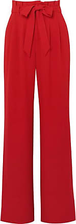 Alice & Olivia Farrel Belted Crepe Wide-leg Pants - Red