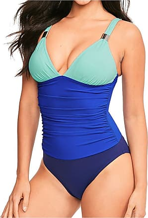 Figleaves Womens Colourblock Shaping Swimsuit Size 10 in Blues