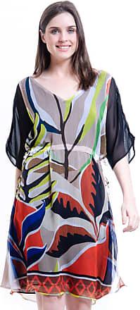 101 Resort Wear Vestido 101 Resort Wear Crepe Estampado Folhas Colorido