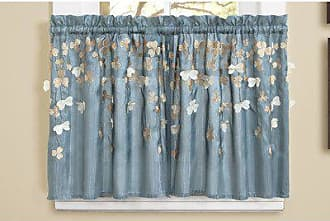 Lush Décor Flower Drops Window Kitchen Tiers, 24 by 29-Inch, Blue, Set of 2, 24 x 29
