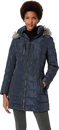Nautica Womens 3/4 Puffer with Faux Fur Trimmed Hood Down Alternative Coat, Navy Seas, X-Small