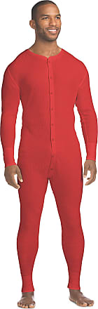 Hanes Mens Waffle Knit Thermal Union Suit, 2XL, Red