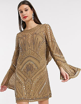 Asos Tall ASOS DESIGN Tall shift super mini dress with cowl back and armour embellishment-Multi