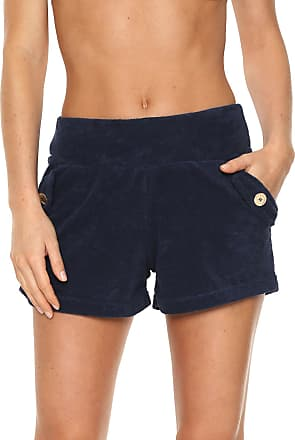 Lili Sampedro Short Lili Sampedro Hot Pant Atoalhado Azul-marinho