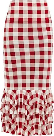 Norma Kamali Gingham Stretch-jersey Pencil Skirt - Womens - Red