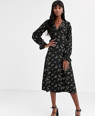 Y.A.S. Tall Auho puff sleeve wrap dress-Black