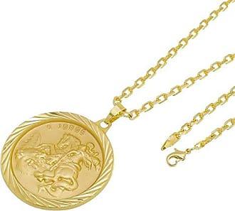 Tudo Joias Kit Medalha São Jorge com Corrente modelo francesa Diamantada Folheado a Ouro 18k