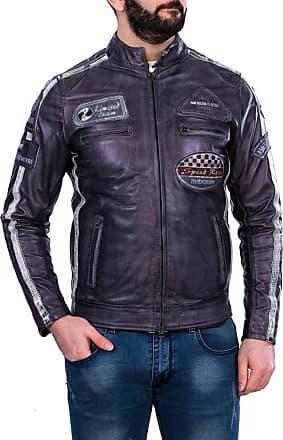 Leather Trend Italy Motociclista Uomo - Giacca in Vera Pelle colore Grigio Tamponato