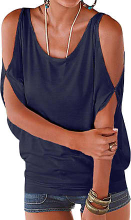 Yoins Womens Cold Shoulder Casual Summer Top Scoop Neck Off Shoulder Lace-up Solid Color Shirt Blouse Navy